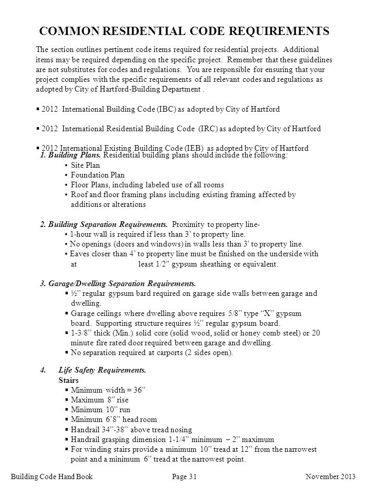 COMMON RESIDENTIAL CODE REQUIREMENTS
