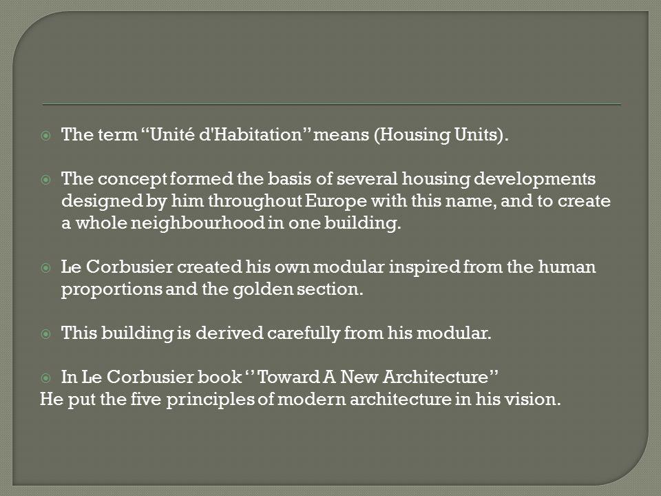 The term Unité d Habitation means (Housing Units).