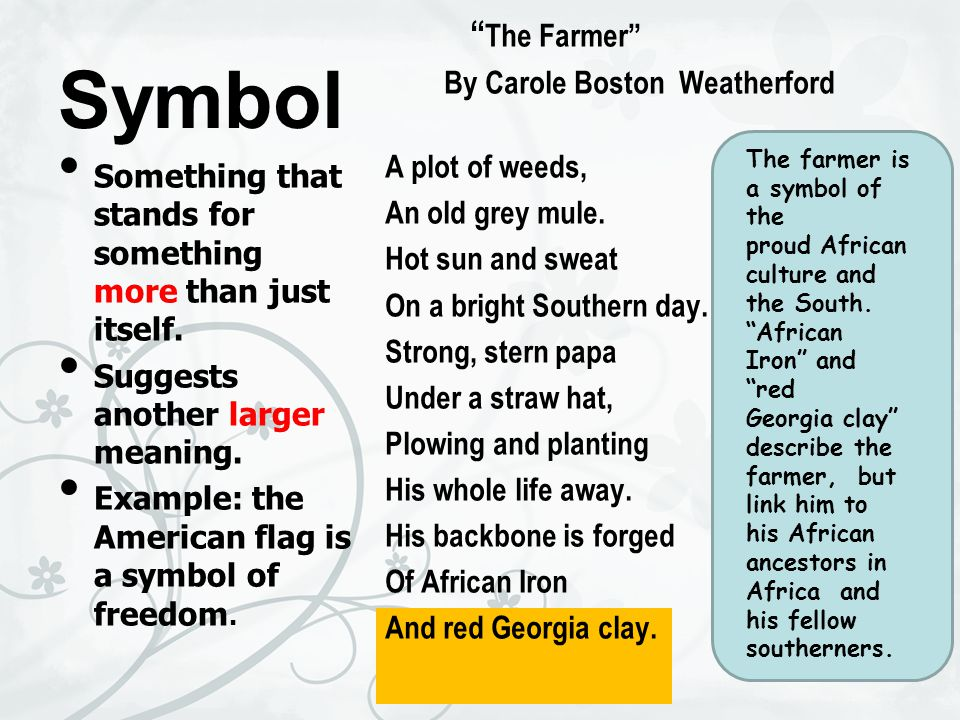 Symbol The Farmer By Carole Boston Weatherford A plot of weeds,