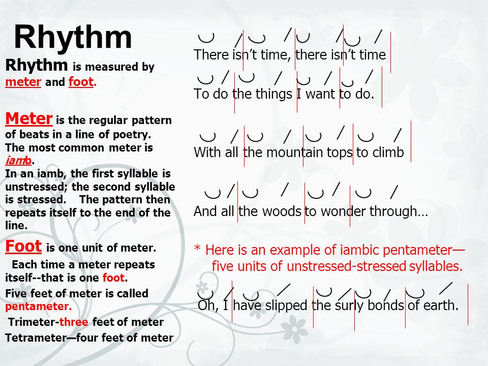 Rhythm Rhythm is measured by meter and foot.