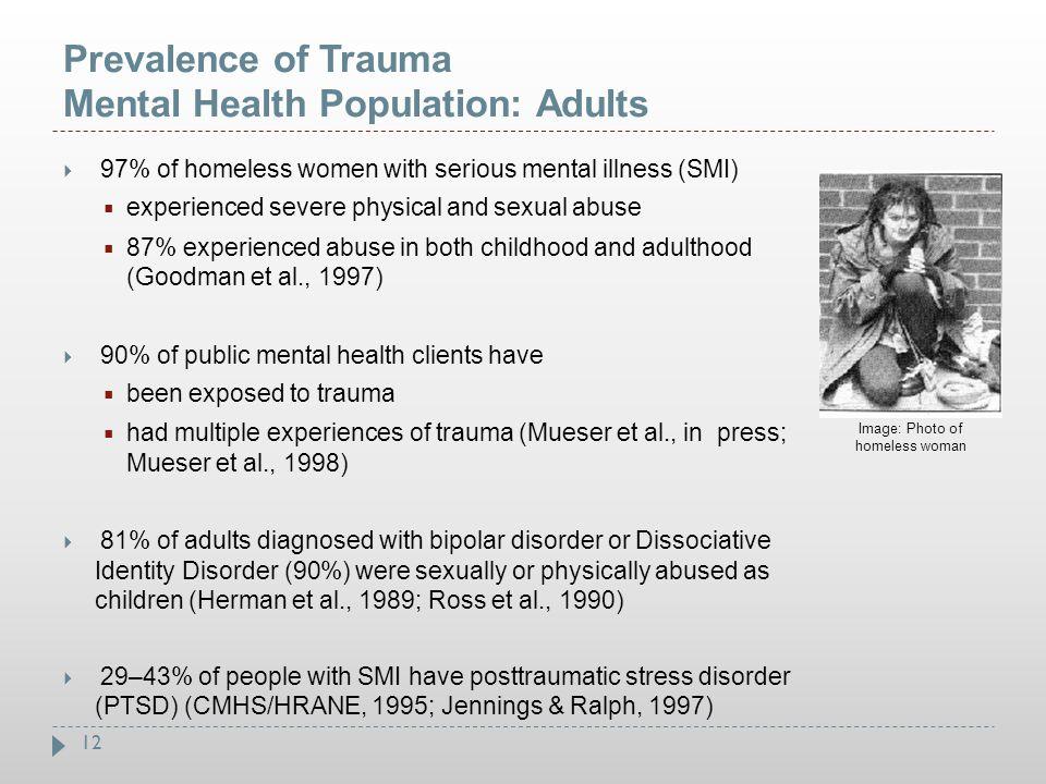 Prevalence of Trauma Mental Health Population: Adults