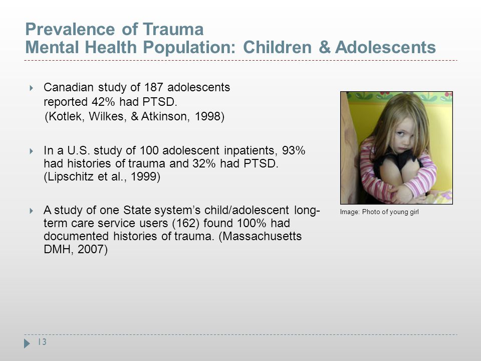Prevalence of Trauma Mental Health Population: Children & Adolescents