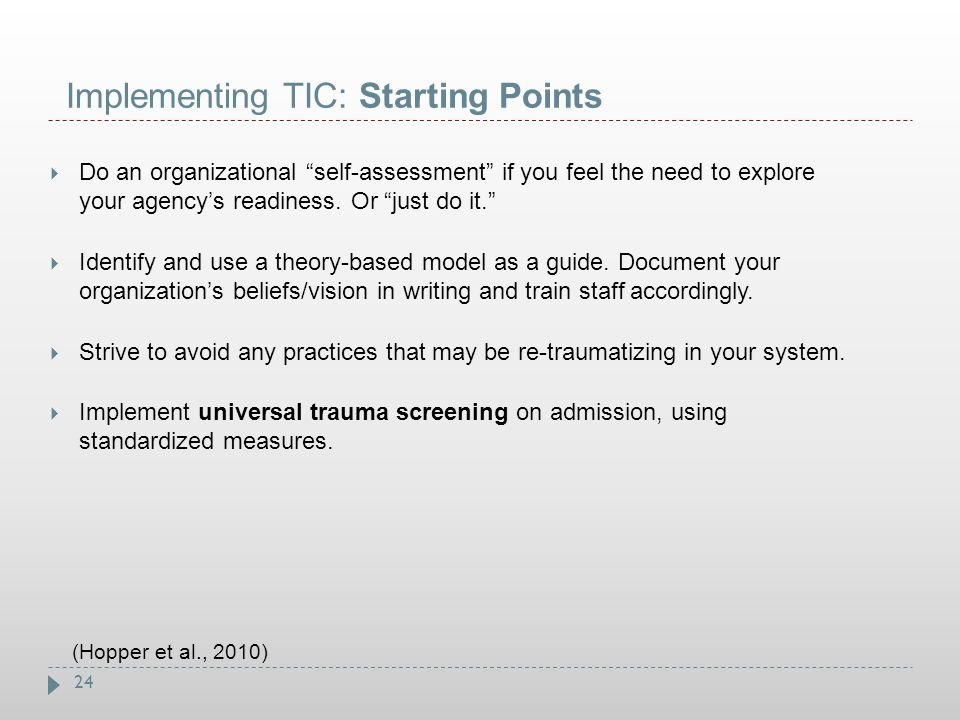 Implementing TIC: Starting Points
