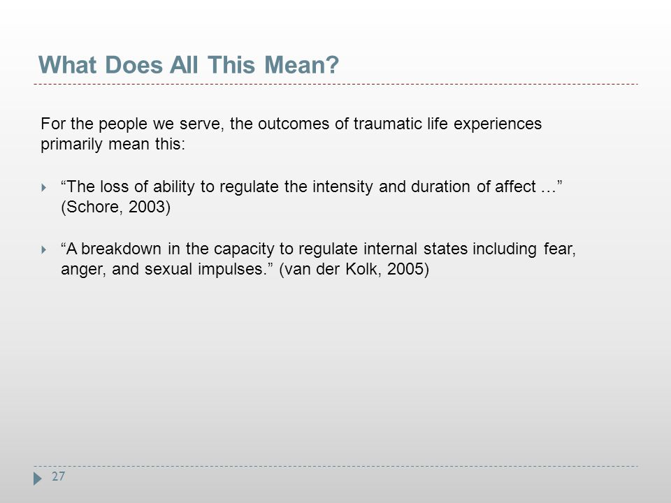 What Does All This Mean For the people we serve, the outcomes of traumatic life experiences primarily mean this: