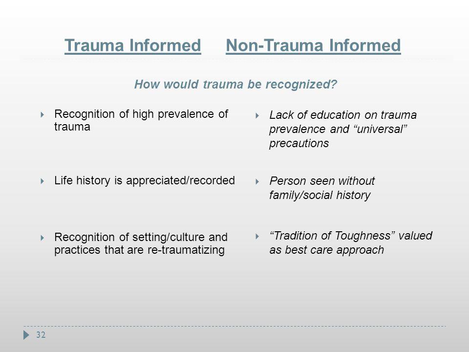 Trauma Informed Non-Trauma Informed