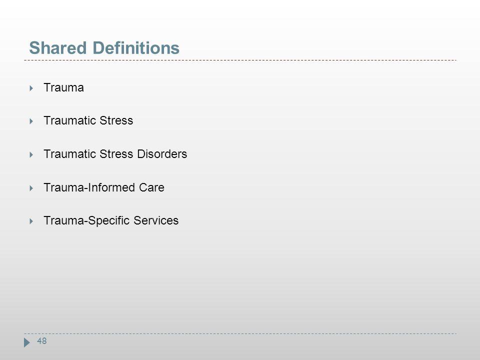 Shared Definitions Trauma Traumatic Stress Traumatic Stress Disorders