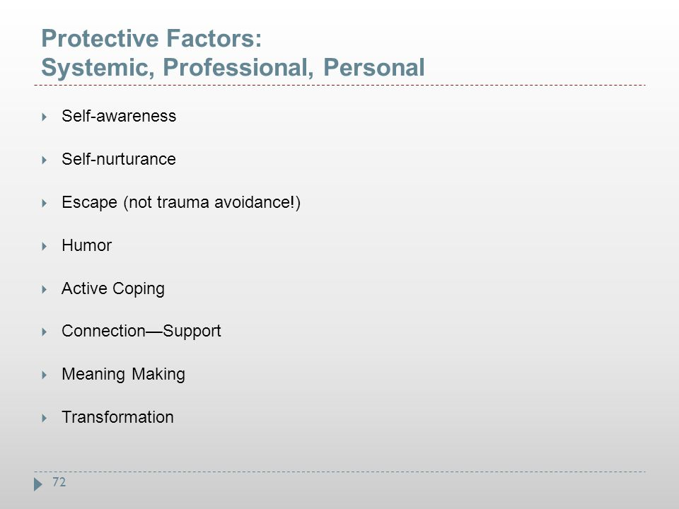Protective Factors: Systemic, Professional, Personal