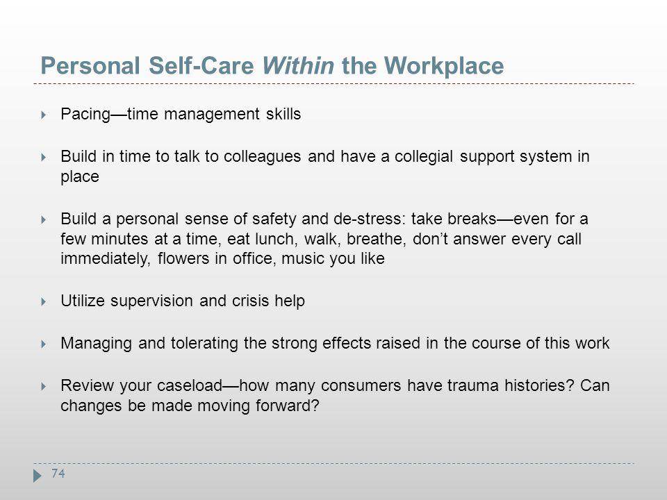 Personal Self-Care Within the Workplace