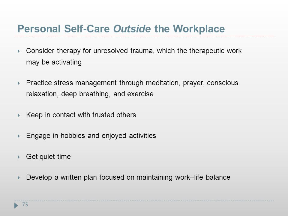 Personal Self-Care Outside the Workplace