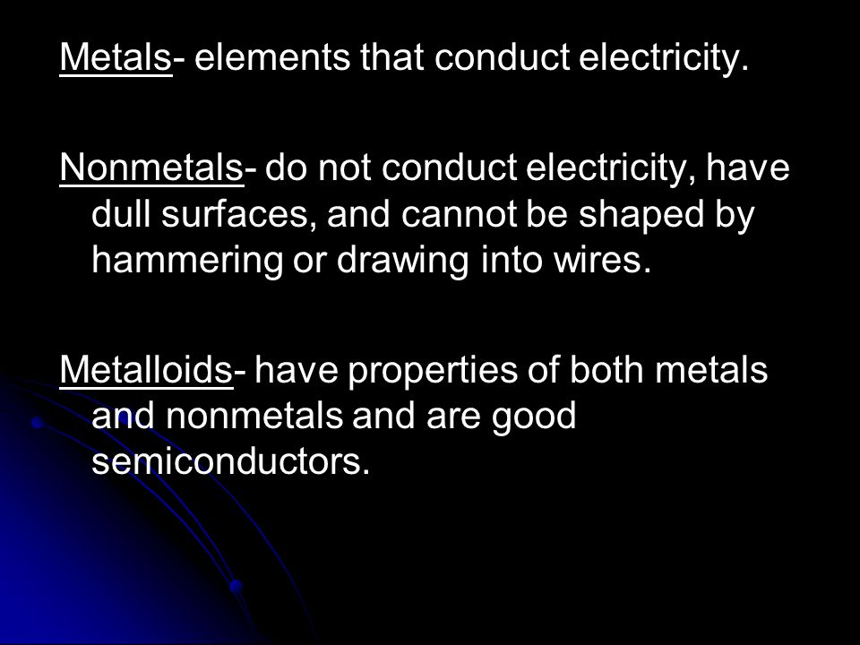 Metals- elements that conduct electricity.