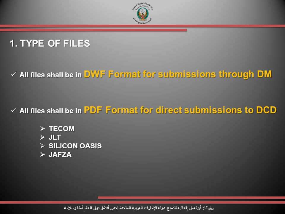 1. TYPE OF FILES All files shall be in DWF Format for submissions through DM. All files shall be in PDF Format for direct submissions to DCD.