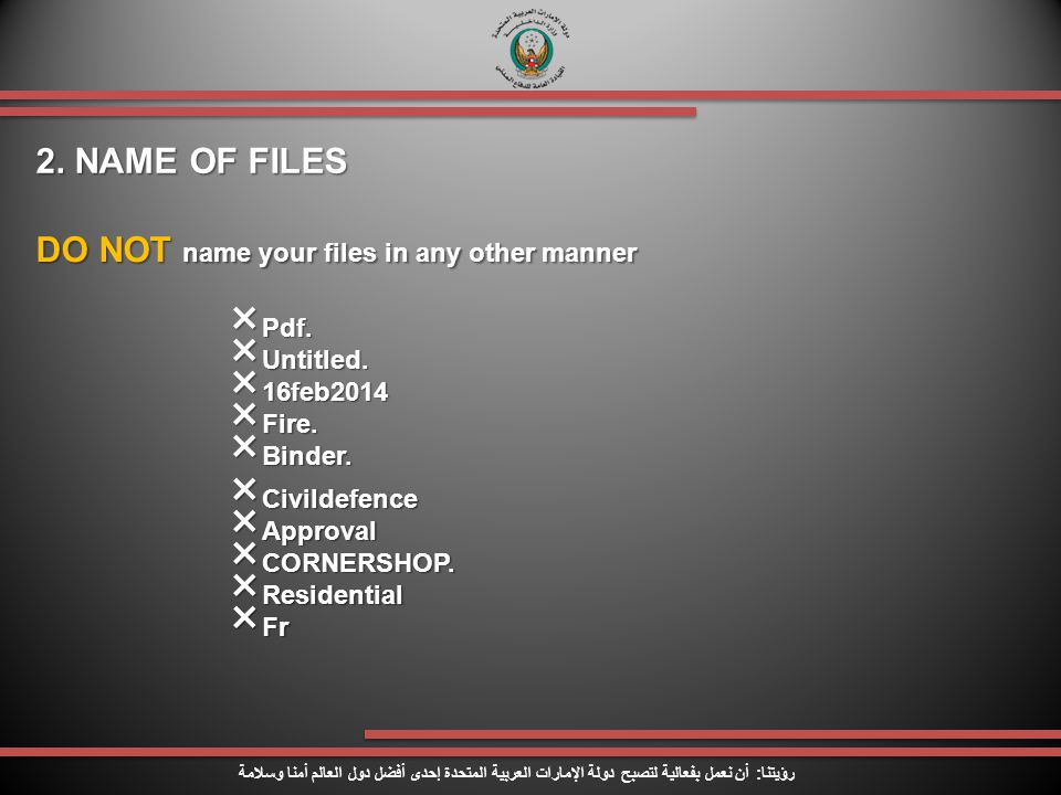 DO NOT name your files in any other manner