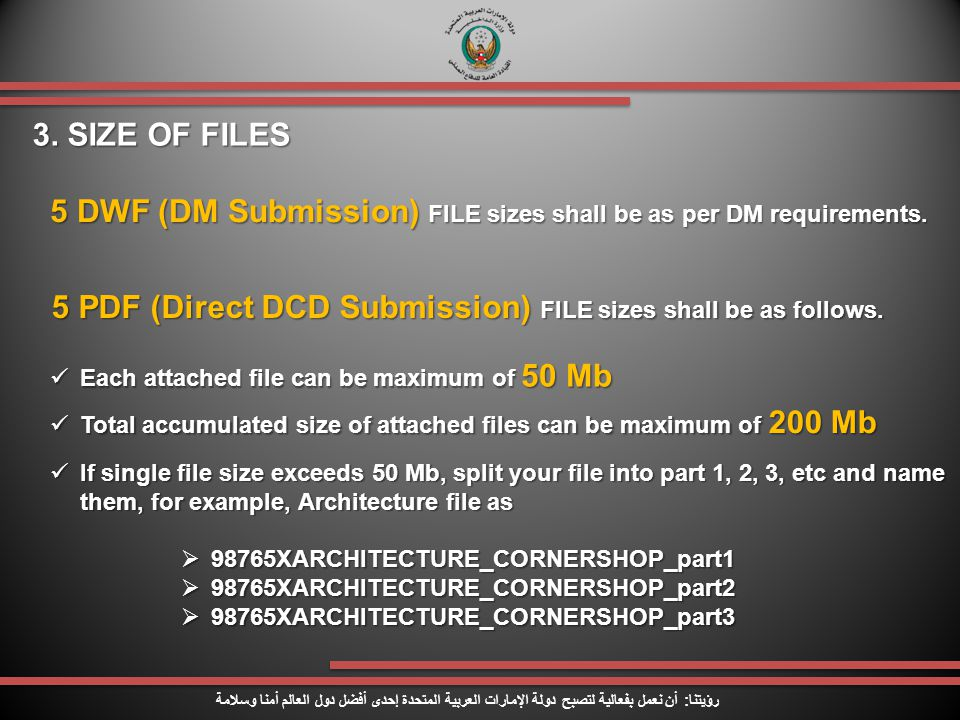 5 DWF (DM Submission) FILE sizes shall be as per DM requirements.