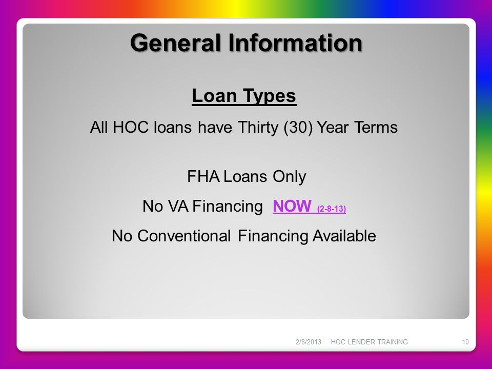 General Information Loan Types