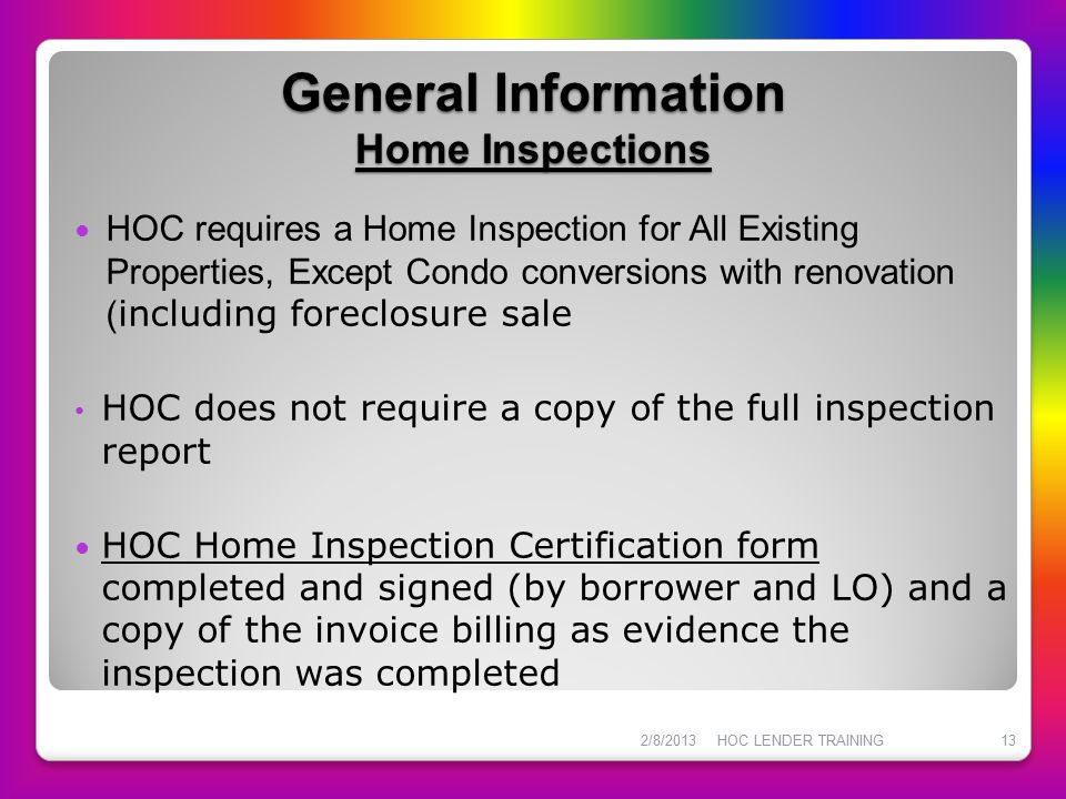 General Information Home Inspections