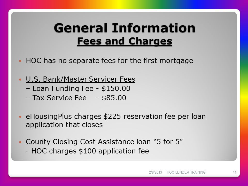 General Information Fees and Charges