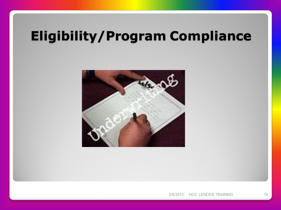 Eligibility/Program Compliance