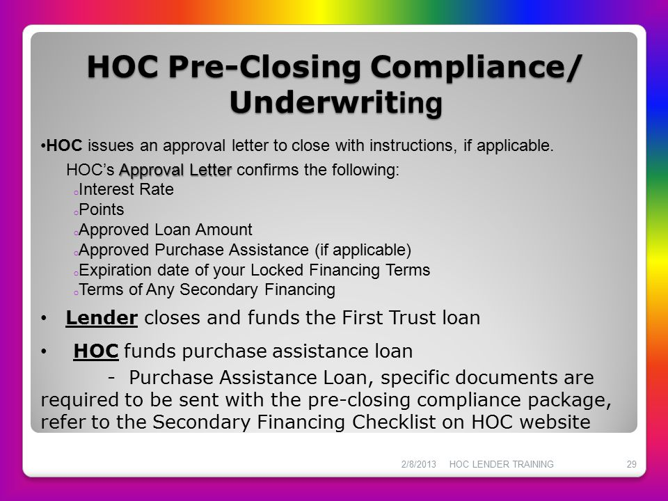 HOC Pre-Closing Compliance/ Underwriting
