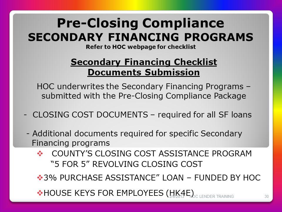 Secondary Financing Checklist
