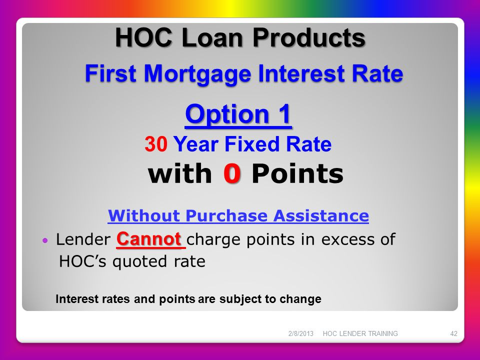 HOC Loan Products First Mortgage Interest Rate