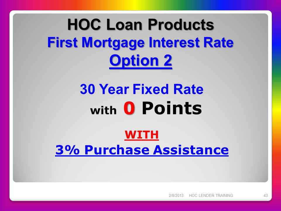 HOC Loan Products First Mortgage Interest Rate Option 2