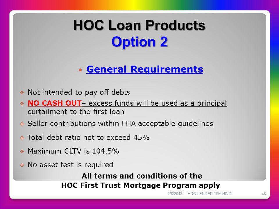 HOC Loan Products Option 2