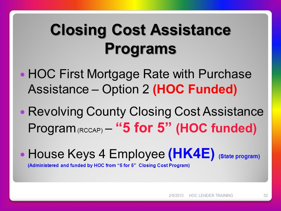 Closing Cost Assistance Programs
