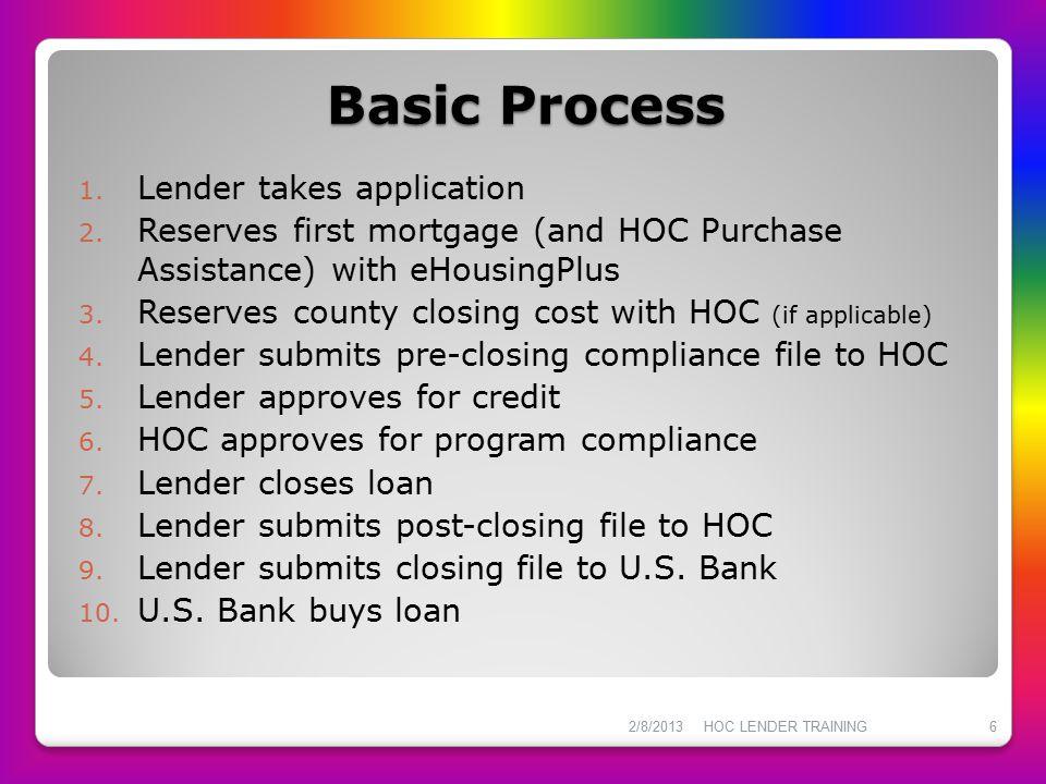 Basic Process Lender takes application