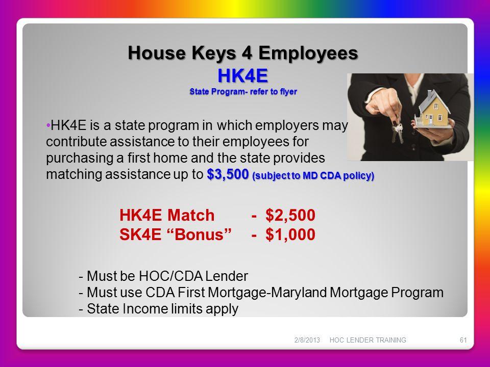 House Keys 4 Employees HK4E State Program- refer to flyer