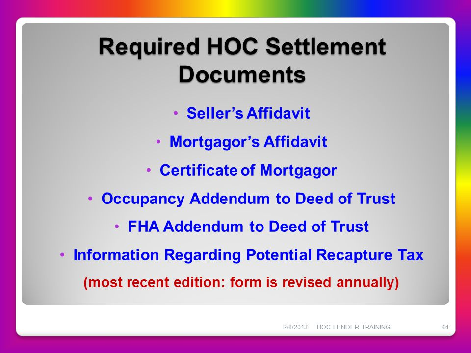 Required HOC Settlement Documents