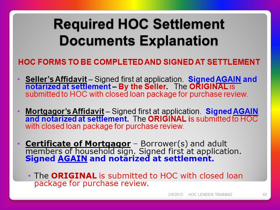 Required HOC Settlement Documents Explanation