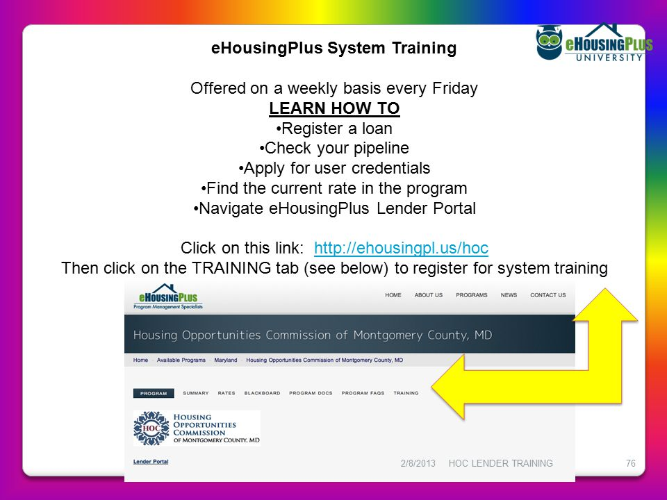 eHousingPlus System Training
