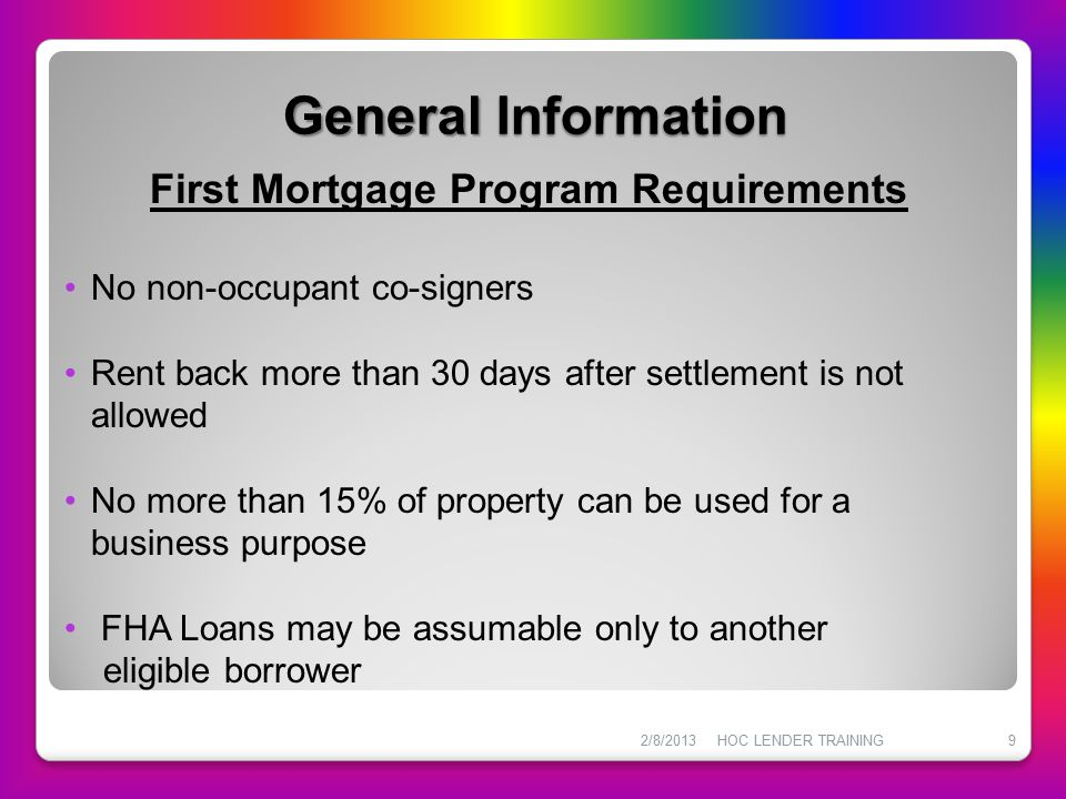 First Mortgage Program Requirements