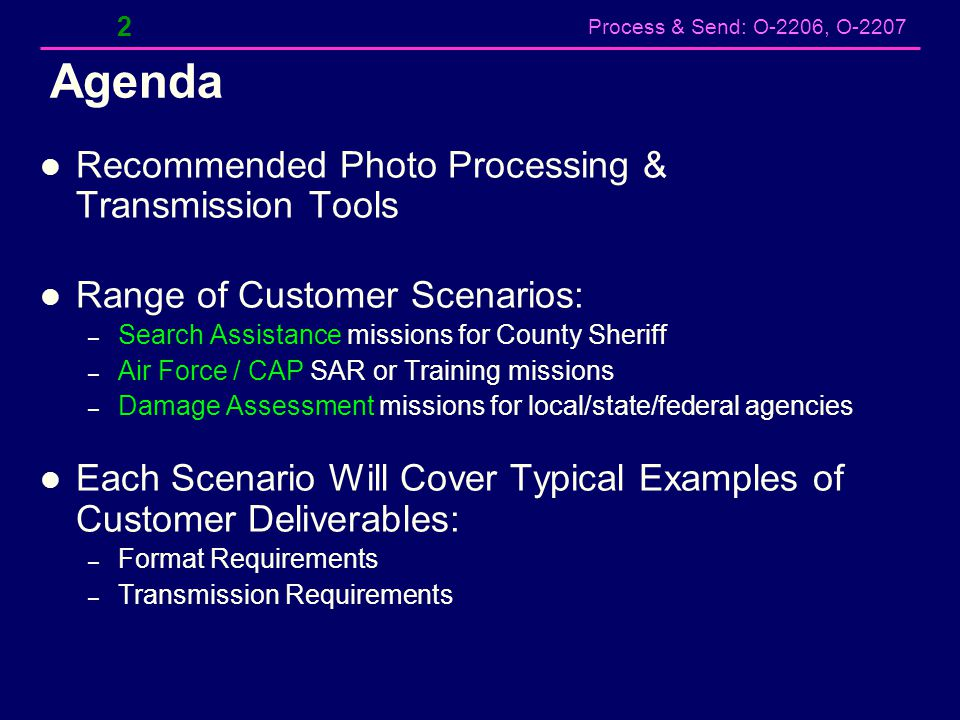 Agenda Recommended Photo Processing & Transmission Tools