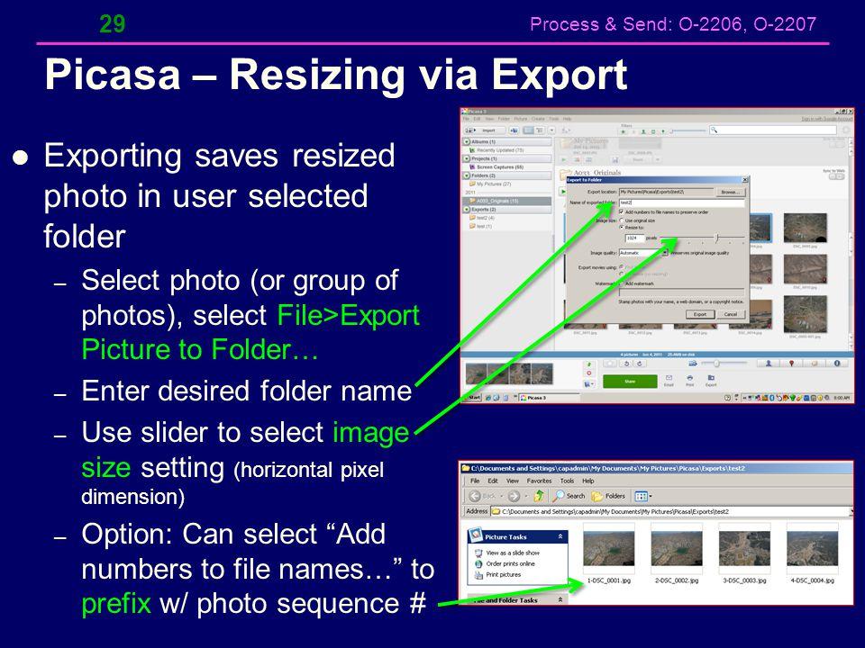 Picasa – Resizing via Export
