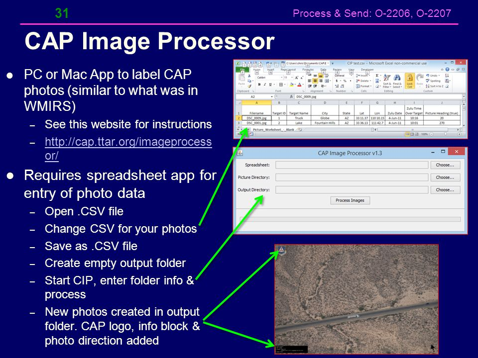 CAP Image Processor Requires spreadsheet app for entry of photo data