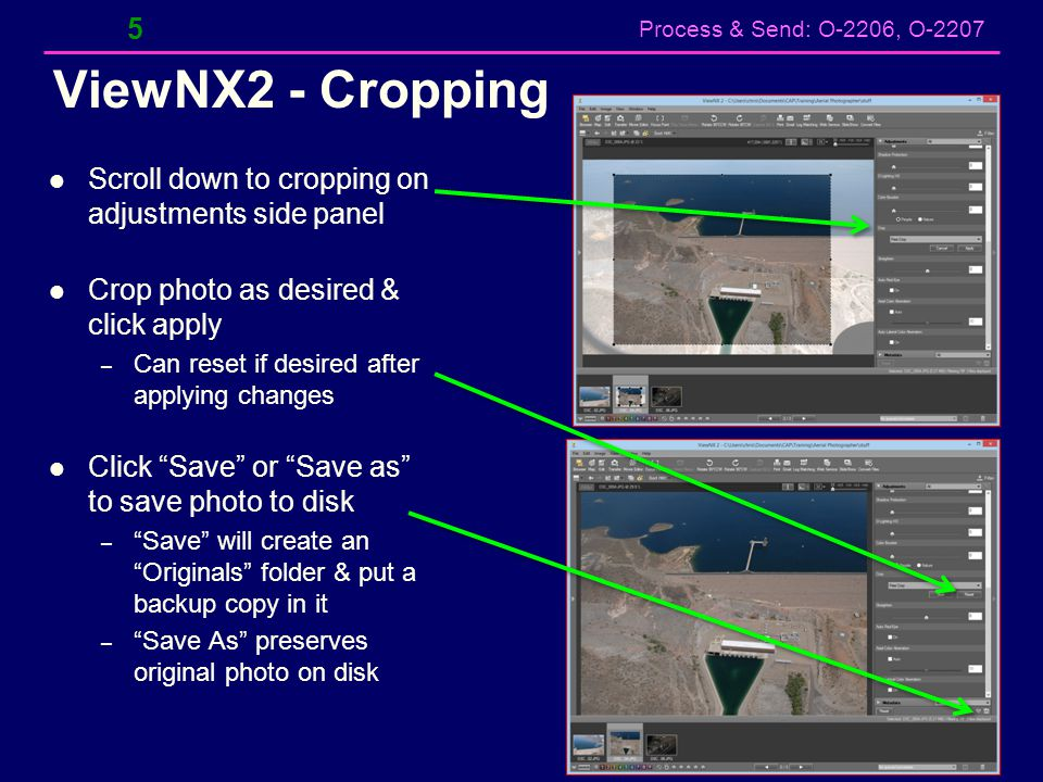 ViewNX2 - Cropping Scroll down to cropping on adjustments side panel