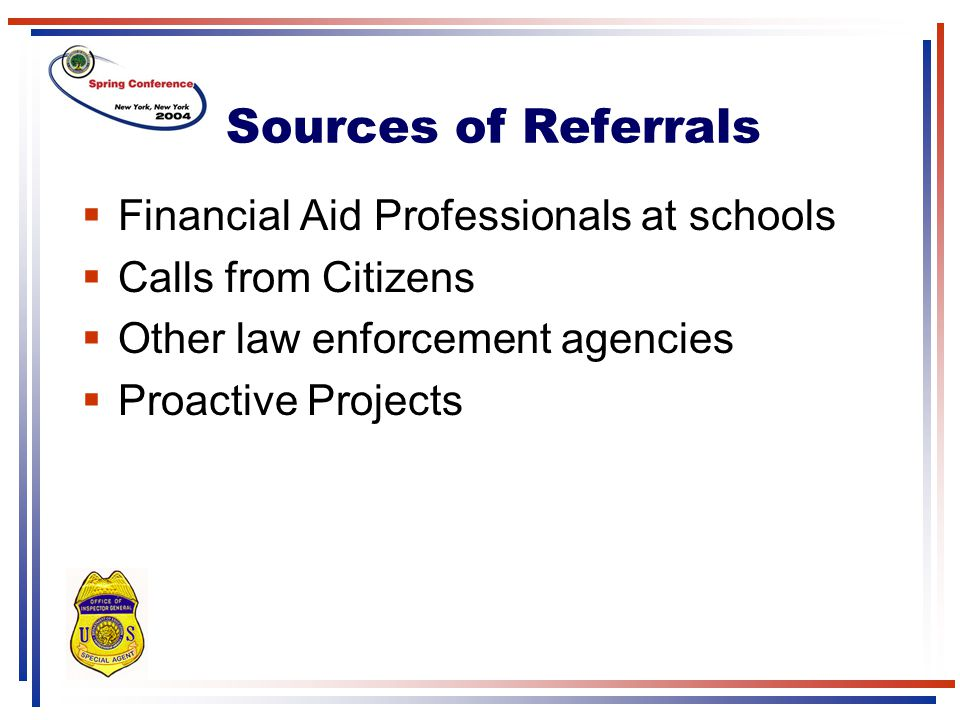 Sources of Referrals Financial Aid Professionals at schools