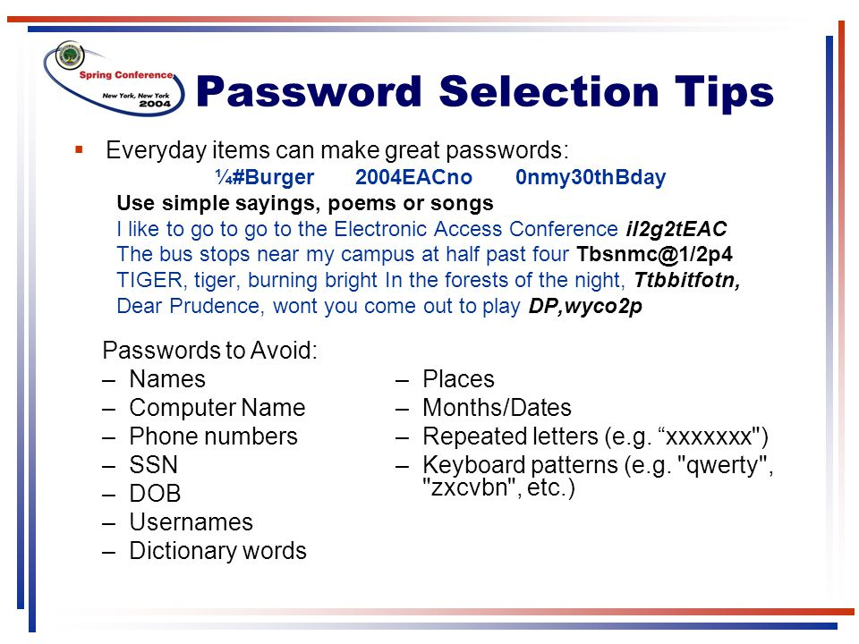 Password Selection Tips