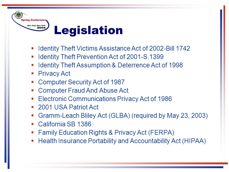 Legislation Identity Theft Victims Assistance Act of 2002-Bill 1742