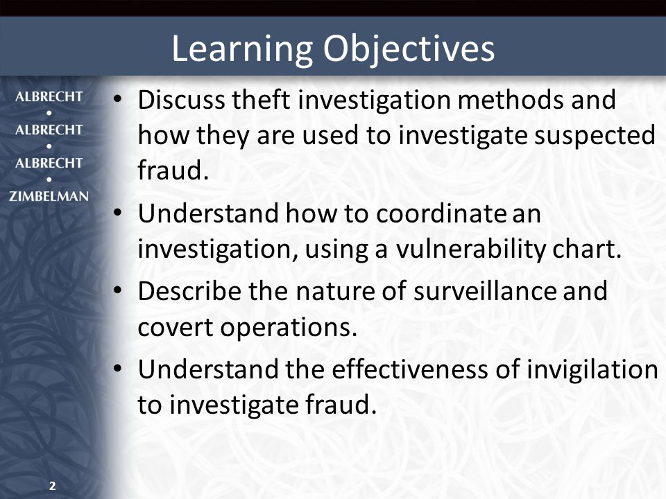Learning Objectives Discuss theft investigation methods and how they are used to investigate suspected fraud.