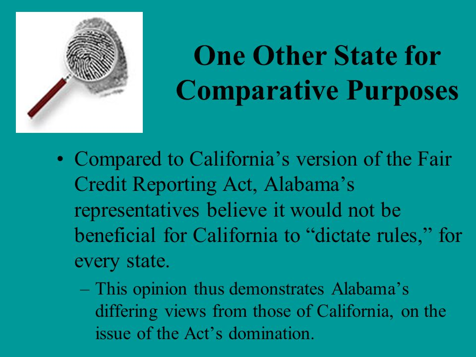 One Other State for Comparative Purposes
