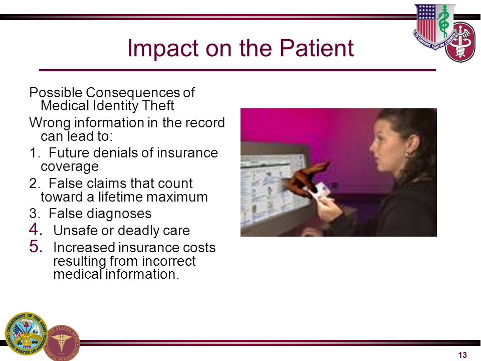Impact on the Patient Possible Consequences of Medical Identity Theft
