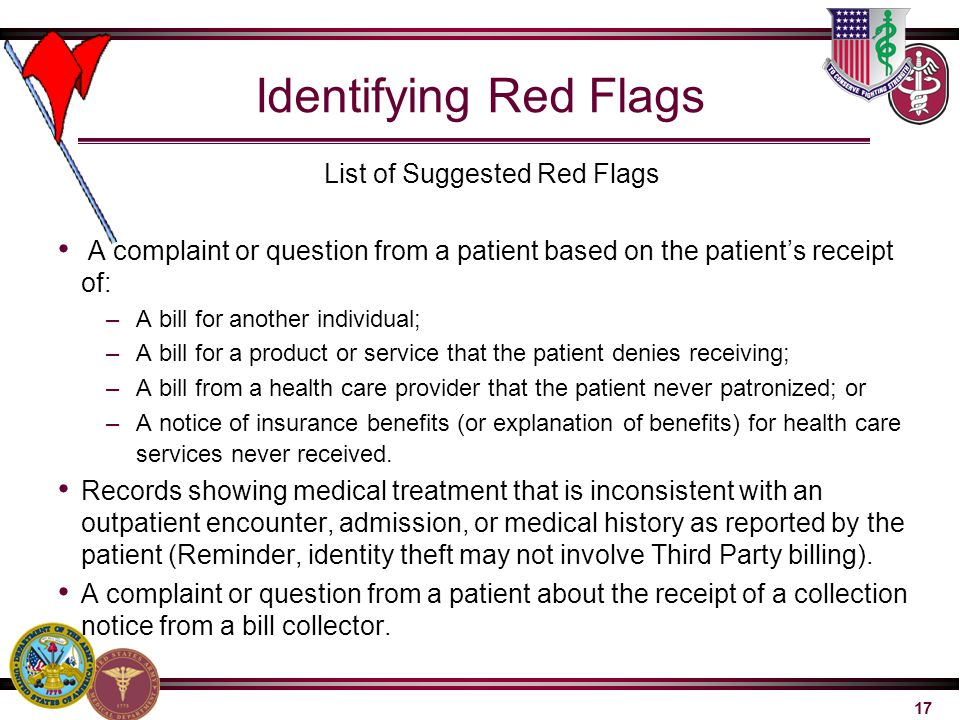 List of Suggested Red Flags