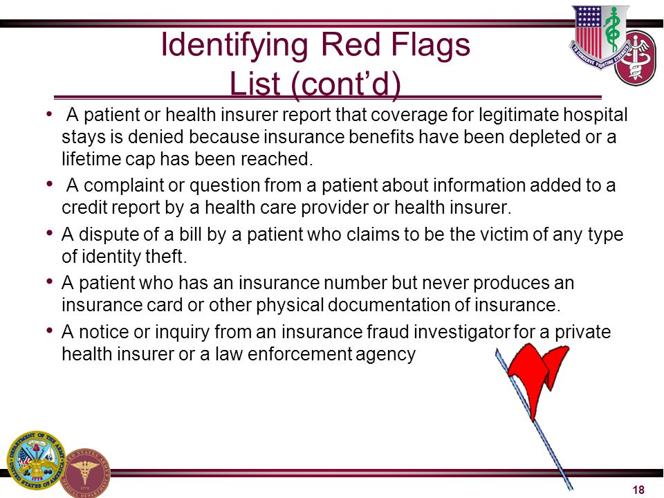 Identifying Red Flags List (cont'd)