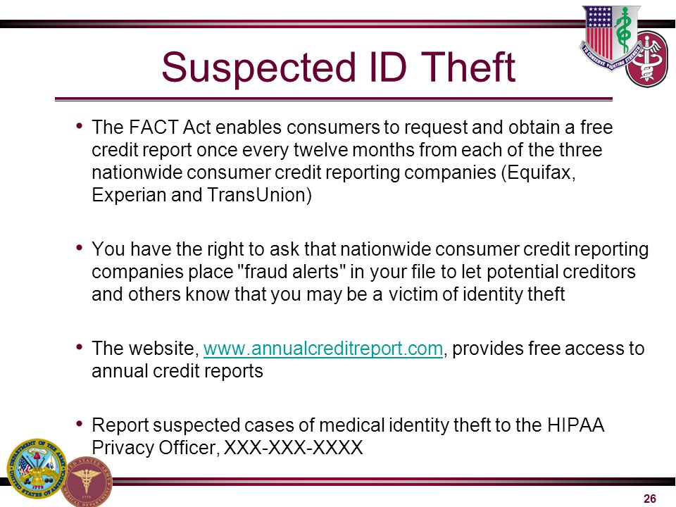 Suspected ID Theft