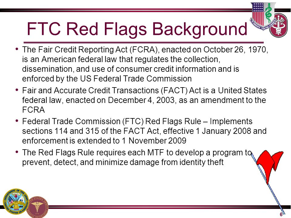 FTC Red Flags Background