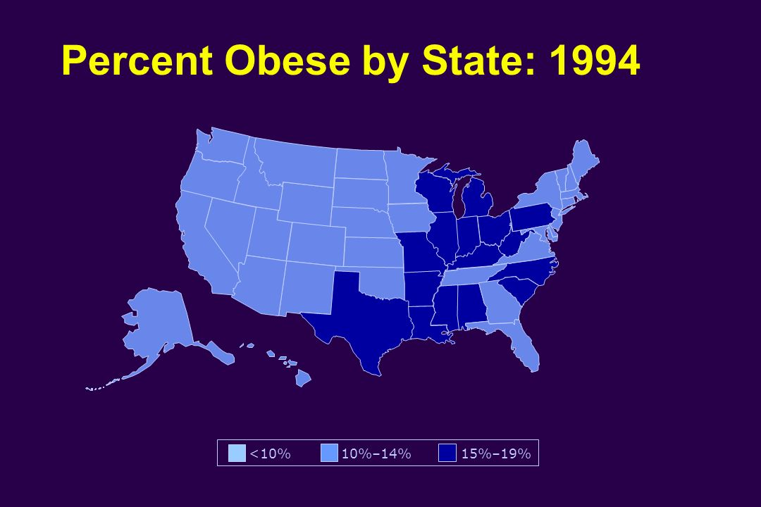 Percent Obese by State: 1994