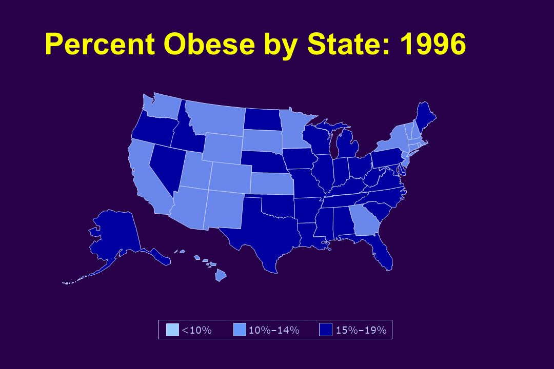 Percent Obese by State: 1996