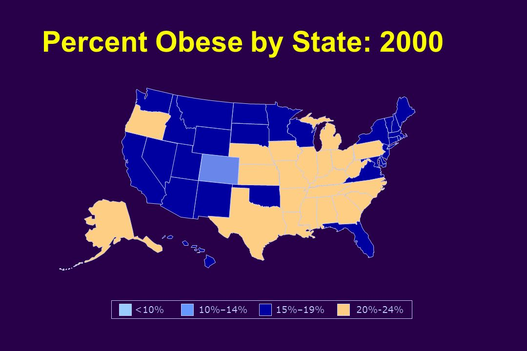 Percent Obese by State: 2000